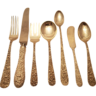 Set of Stieff Rose sterling silver flatware 210 pieces