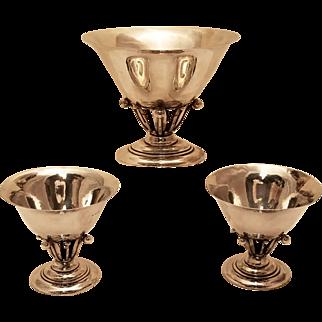 GEORG JENSEN THREE PIECE  Danish sterling silver table garniture