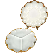 Anchor Hocking Fire King Milk Glass Relish and Egg Trays Circa 1950s
