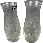 Pasabahce Glass Vase with Etched Floral Design x 2