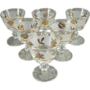 Libbey Frosted Gold Leaf Glass/Goblet Set Of 6 C. 1970s