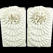 Floral Design Rectangular Vases Set Of 2 Crème Color
