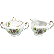 Roselyn China Creamer And Sugar Bowl With Lid Dogwood Pattern C. 1950s