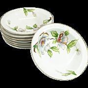 Roselyn China Fruit/Dessert Bowl Set Of 8 Dogwood Pattern C. 1950s