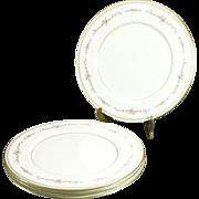 "Mikasa Millbrooke Pattern 10 1/2""Bone China Dinner Plates Set Of 4 C. 1970s"