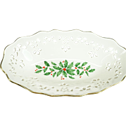 "Lenox Holiday Pattern Pierced 8"" Porcelain Dish"