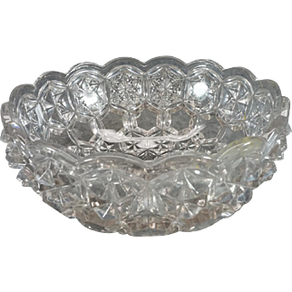 "Crystal 9 1/2"" Wide Fruit/Salad Bowl With Spiked Design"