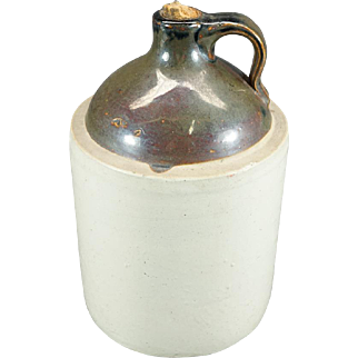 Vintage Stoneware Two Tone Whisky Jug With Handle