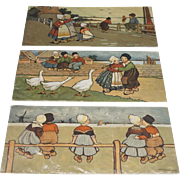 Collection Of 3 Stamped Ethel Parkinson Prints Of Dutch Children