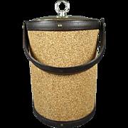 Mid Century Cork Leather Ice Bucket W/ Handle