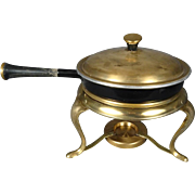 Vintage Brass Chaffing Warmer and Pan With Brass Lid Wooden Handle