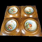 Vintage Weisley Studios Hand Painted Framed Translucent China Set Of 4 Originals
