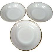Anchor Hocking Fire King Milk Glass Cereal/Soup Bowls With Gold Trim Set Of 3