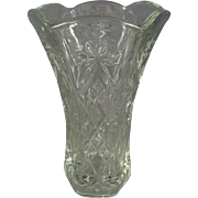 "Vintage Anchor Hocking ""Prescut Clear"" Glass Flower Vase"