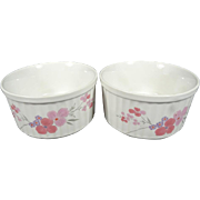 Pair of 2 Galleria Collection Stoneware Floral Patterned Baking Bowls
