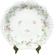 Antique Elysee Floral Serving Bowl with Gold Trim