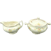 "Nautilus China Creamer and Sugar Bowl with Lid  ""Eggshell"" Design Pattern"
