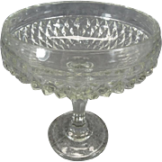 Indiana Glass Co. Pressed Glass Compote Candy / Nut Dish Diamond Cut Pattern