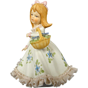 Lefton China Girl with flower basket figurine Hand Painted