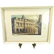 Vintage 13 x 10 Framing Of The Cabildo Museum In New Orleans