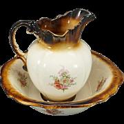 Empress Ironstone Staffordshire England Pitcher and Bowl