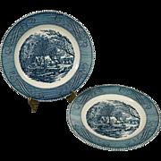 Royal Currier & Ives Vintage The Old Grist Mill Dinner Plate Set of 2 c. 1950's