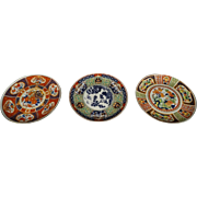 3 x Imari Hand Painted Porcelain Japanese Wall Plaques.