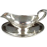 Gorham Silver-Plated Gravy Bowl With Attached Dish.