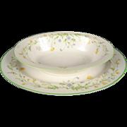 Noritake Ivory China Reverie 7191 Oval Vegetable Serving Bowl & Oval Serving Platter.