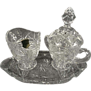Hand Cut Lead Crystal Creamer & Sugar Bowl With Lid and Oval Crystal Underplate