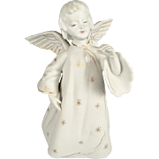 "7"" Decorative Ceramic Angel Tree Topper White With Gold Markings"