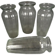 "Set of 4 Clear Ribbed Flared Glass Vases  9.5"" Tall"