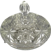 Vintage 1970s Anchor Hocking Early American Prescut Pattern Star of David Glass Covered Serving Dish