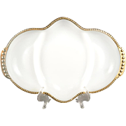 Vintage Anchor Hocking Fire King White Milk Glass Gold Trim Divided Relish Tray