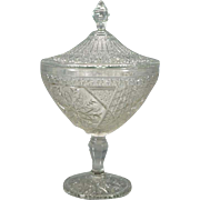 Vintage Elegant Compote Style Clear Pressed Glass Footed Candy Dish