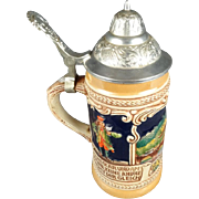 Vintage Gerz W.Germany Lidded Pewter Beer Stein Heidelberg City
