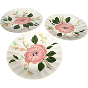 """3 Piece Southern Potteries """"Blue Ridge"""" Hand Painted Pink Rose Pattern  2 Saucers & 1 Dessert Plate"""