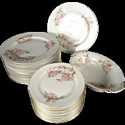 Vintage 25 Piece Imperial China Occupied Japan Pink Floral Dinner Set