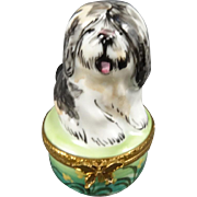 Limoges English Sheepdog Guarding His Bone (Inside) Trinket Box
