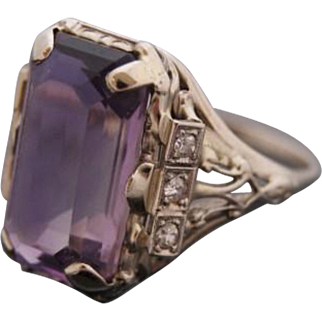 Edwardian Amethyst 18k White Gold Ring with Diamond Accents