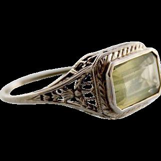 Art Deco Lemon Citrine and Filigree White Gold Ring
