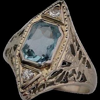 Victorian Aquamarine Diamond 14k White Gold Ring