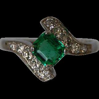 Natural Emerald and Diamond Platinum Ring