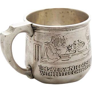"""Kerr Sterling Silver """"Moral Message"""" Child's Cup CA 1914"""