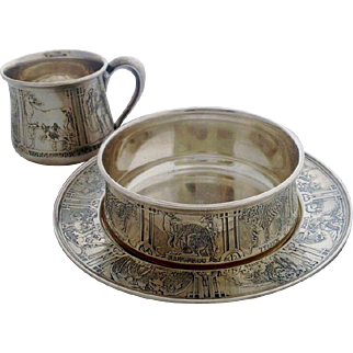 Victorian Kerr Sterling Silver Child's Place Setting, Cup, Plate Bowl