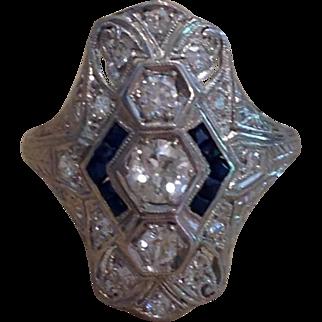 Art Deco Platinum Diamond and Sapphire Lady's Ring