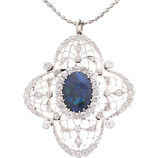 Black Opal Diamond and 18k White Gold, Bailey Banks and Biddle Antique Pendant