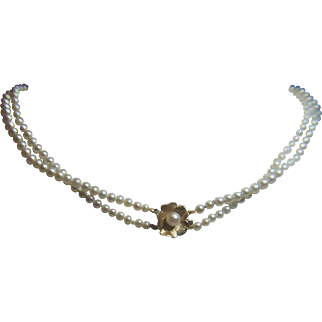 Double strand Akoya Cultured Pearl necklace, 14kt Gold Clasp