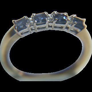 Vintage Eternity Diamond & Sapphire Ring 9k Gold