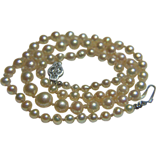 Japanese Akoya Cultured Pearl Necklace, 14k White Gold clasp